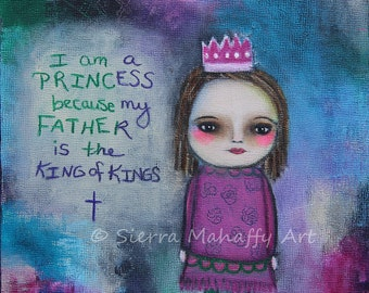 Princess painting, Christian art, Christian painting, Princess art, King of Kings, acrylic painting, cross, whimsical, pink, purple, blue