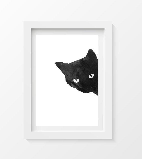 Framed Black Cat Silhouette