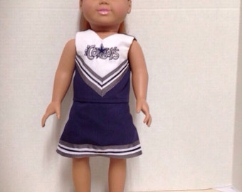 Dallas Cowboys Cheerleader Outfit for 18 inch doll like the American Girl Doll.