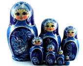 Nesting doll 7 pcs Gzhel. Russian matryoshka. The original birthday gift.