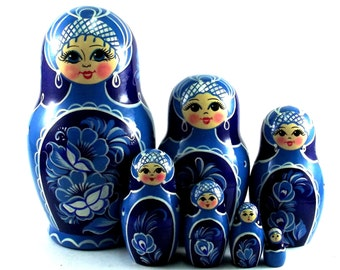 Nesting doll 7 pcs Gzhel. Russian matryoshka. The original birthday gift.
