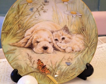 Royal Worcester Fine Bone China just good friends collectors plate 1990s. Cute puppy and kitten plate.