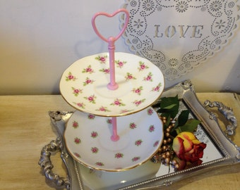 Vintage Rosebud wedding Cake Stand, Sweet Treat Stand or jewellery stand. A great wedding centrepiece.