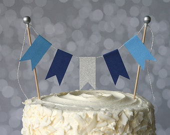 Hanukkah Blue & Silver Cake Bunting Pennant Flag Cake Topper-MANY Colors to Choose From-Birthday, Wedding