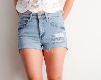 Levis distressed high waisted shorts