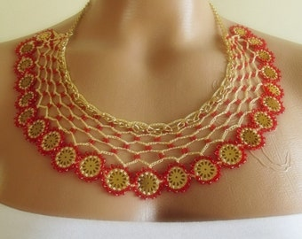 Women Fashion multicolor hand crochet collar Necklace yellow red beads christmas gift for her mothers day gift