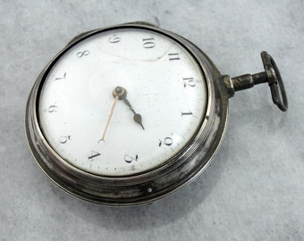 1799 Verge Fusee Pocket Watch In Sterling Silver Case, Very Rare YDYJE0