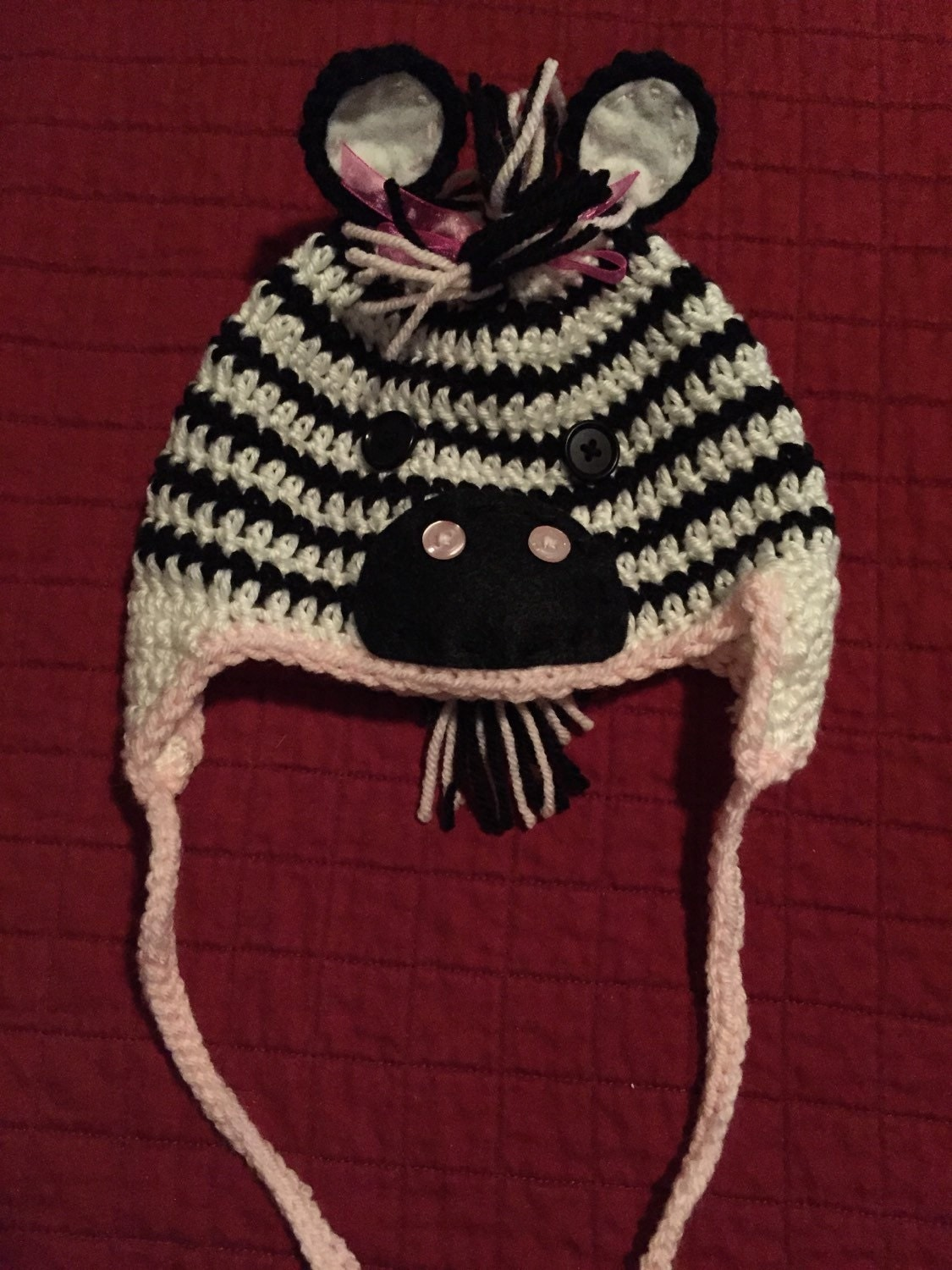 Crochet Pattern Zebra Hat : Crochet zebra hat Costume Photo Prop Baby Hat