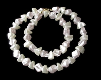 Vintage Hippie Era Faux  Mother of Pearl  Genuine Solid  Lucite  Necklace