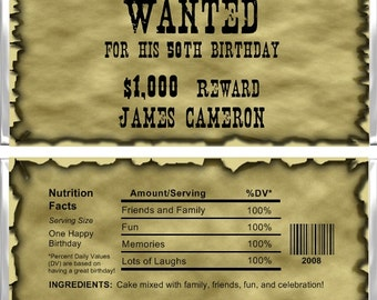 Personalized Candy Bar Wrappers - Adult Birthday - Wanted Poster AB009 (Set of 15)