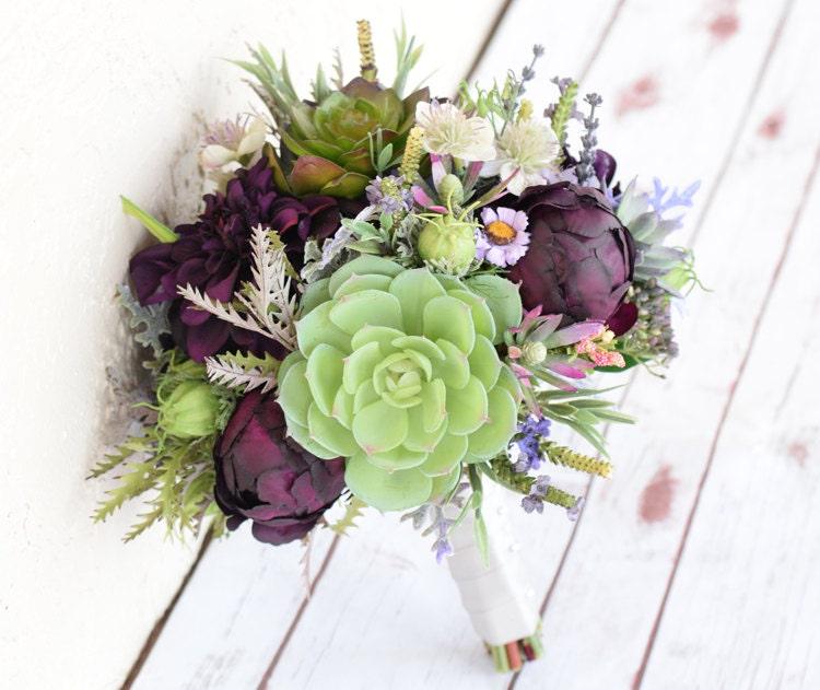 Fall Wedding Flowers List: AMAZING Plum Wedding Silk Succulent Peonies Dahlias And
