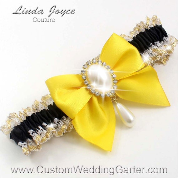Black And Yellow WEDDING GARTER Pearl By CustomWeddingGarter