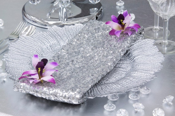 Bulk silver sequin napkins by sparklesoiree