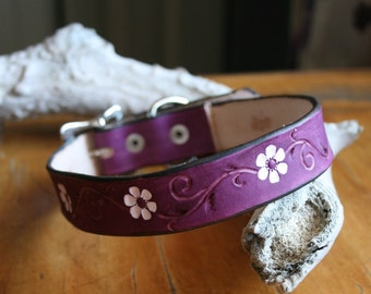 Purple leather dog collar with white flower accents, daisy, daisies