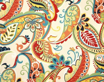 "One Covington Whimsy Paisley Multi or Mardi gras fabric pillow cover designer decorative throw pillow  16x16"" 18x18 20x20 22x22"""