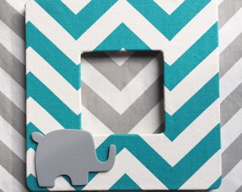Turquoise Chevron Elephant Picture Frame