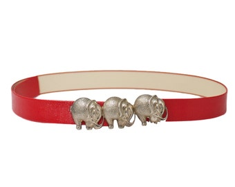 Red Leather Elephant Belt / 70s Red Belt
