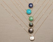 Luxurious Stone Medallion / Suspended Gold Bezel Stone on Delicate Gold fill Chain / Simple Turquoise Stone Necklace Layered and Long LN705