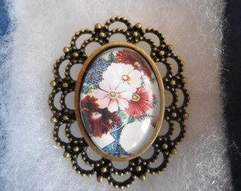 Multi colored cosmos glass domed cameo brooch antique brass filigree nickel free locking pin pad perfect size for sweater