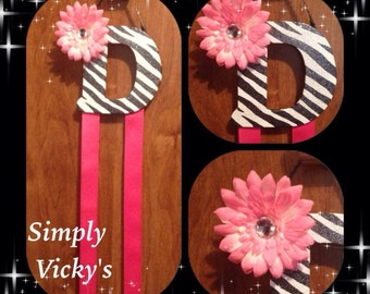 "Letter ""D"" Zebra Hair Bow Holder"