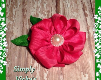 Hot Pink Flower Hair Bow