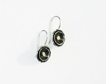 Silver and gold earrings. Small mixed metal earrings in sterling silver and 14k solid gold handmade earrings. Modern, unique jewelry