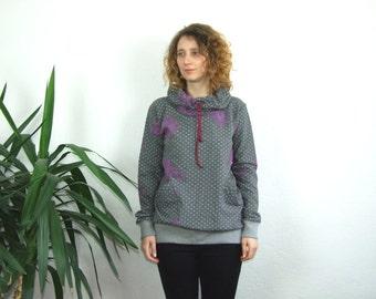 Womens gray pullover hoodie with purple  flower print /cowl neck printed sweatshirt