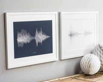 PAIR of PERSONALISED SOUND Wave Prints. Your Voice or Song Art Sentimental Anniversary Wedding Fathers Mothers Day Gift Giclee