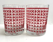 Vintage Georges Briard Red Checkered Glassware Set of 2