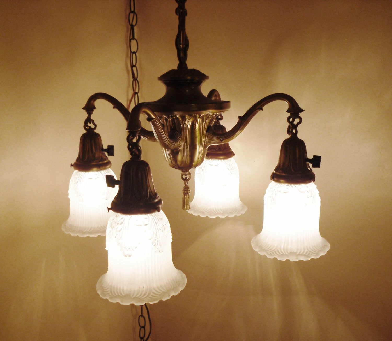 antique 1920s hanging 4 arm light fixture w 2 tone shades. Black Bedroom Furniture Sets. Home Design Ideas