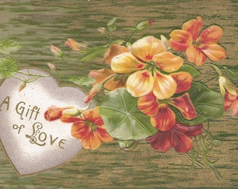 1908 Postcard A Gift of Love with flowers