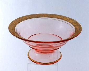Console Bowl Gold Encrusted Decoration Depression Pink Glass Art