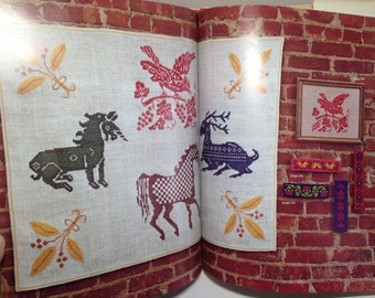 Folk Art In Needlepoint And Crosstitch by Lisbeth Perrone Hardcover Book Craft Sewing