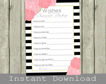 Printable Wishes for Baby girl cards, black white pink gold, INSTANT DOWNLOAD, print your own, babyshower, well wishes for baby, baby shower
