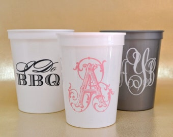 Personalized Stadium Cups, Custom Plastic Cups, Monogrammed Wedding Cups, Stadium Party Cups, Personalized Plastic Cups, Custom Favors