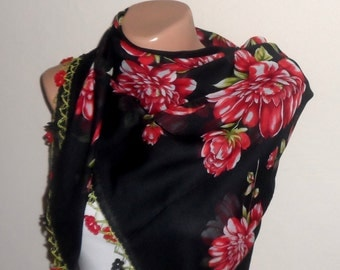 black scarf green  flower red white cotton turkish yemeni oya handmade
