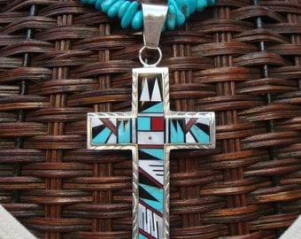 Sleeping Beauty Turquoise Necklace, Sterling Silver Inlaid Gemstone Cross Pendant, Zuni Cross, Southwestern Style Cross, OOAK