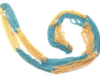 SALE! Long Layered Color Block Teal and Gold Chain Necklace Summer Fashion, Layering Necklace