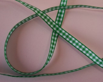 Quality Woven Edge 7mm Green Gingham Ribbon