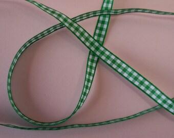 Quality Woven Edge 7mm Green Gingham Ribbon