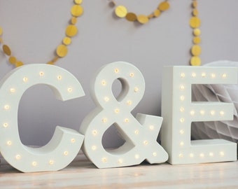 Couples wedding letters, light up letters, 3x letter lights, monogrammed letters, wedding letters, initial letters, marquee li
