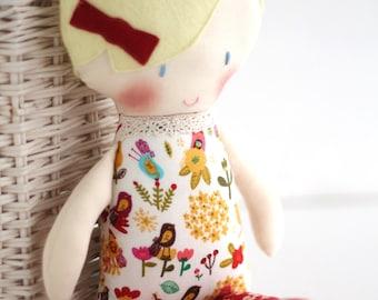 Personalised cloth doll - rag doll, stuffed toy -  limited edition stuffed doll - organic doll - stuffed doll -