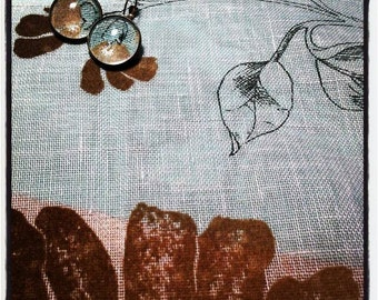 Textile serie #fabric #curtain #earrings #antiquebrass #cabochon 20mm