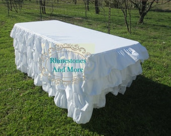 Ruffled White Tablecloth - 8 feet long