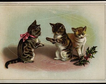 Antique Original Victorian Card from 1880's -   Kittens - cats