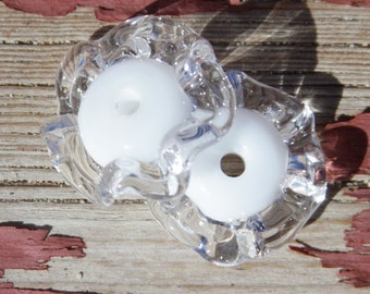 Lampwork Destash White and Clear Glass Ruffle Beads Pair