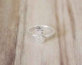 Pineapple ring, pineapple rings, pineapple ring, sterling silver ring, silver pineapple, pineapple stacking ring, pineapple summer ring