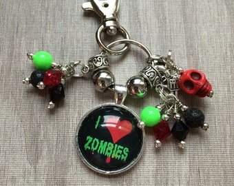 I love zombies keychain or bag charm