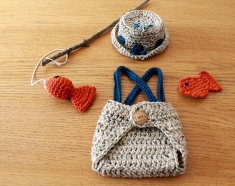 Baby Fisherman Photo Prop Outfit. Newborn Crochet Newborn Fishing Hat, Diaper Cover and Fish Props.