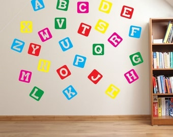 Block Alphabet Wall Stickers Kids Nursery Play Room Home Art Decoration Children Decals Removable Handmade School Bedrooms Bright VC-A130